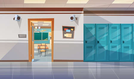 Empty School Corridor With Lockers Hall Open Door To Class Room Flat Vector Illustration Vettoriali