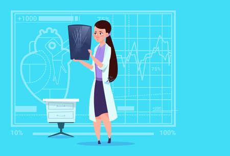Female Doctor Examining Xray Medical Clinics Worker Hospital Surgery Flat Vector Illustration Illustration