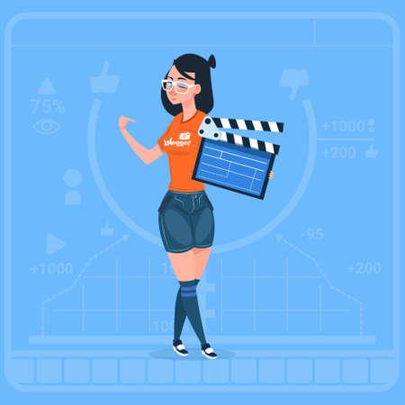 Girl Holding Clapperboard Modern Video Blogger Vlog Creator Channel Flat Vector Illustration Illustration
