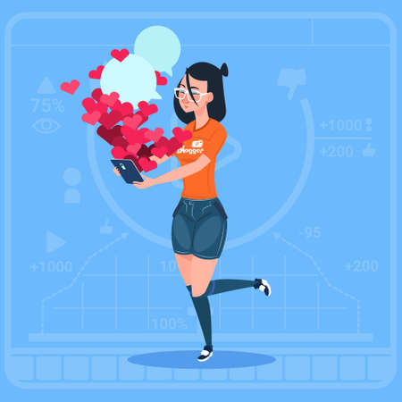Girl Blogger Hold Cell Smart Phone With Many Likes Modern Video Blogs Creator Popular Vlog Channel Flat Vector Illustration