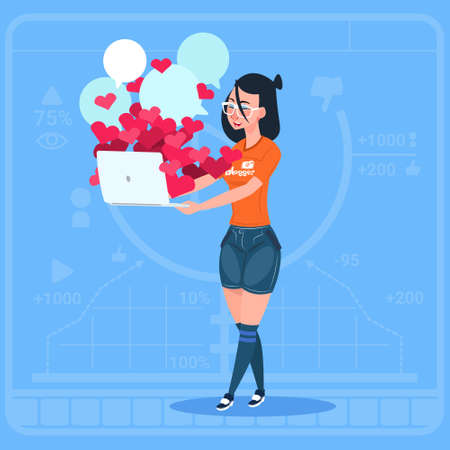 Girl Blogger Hold Laptop With Many Likes Modern Video Blogs Creator Popular Vlog Channel Flat Vector Illustration