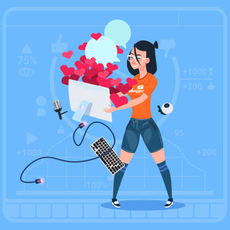 Girl Blogger Hold Computer With Many Likes Modern Video Blogs Creator Popular Vlog Channel Flat Vector Illustration