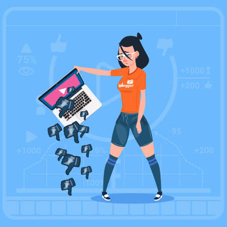 Girl Hold Laptop With Thumb Down Modern Video Blogger Vlog Creator Channel Dislike Flat Vector Illustration