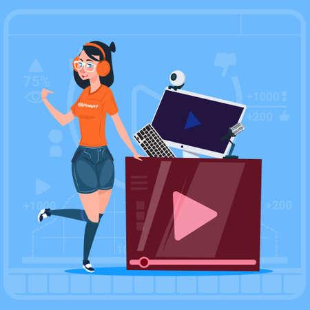 Girl Over Vlogger Channel Screen Modern Video Blogger Vlog Creator Flat Vector Illustration
