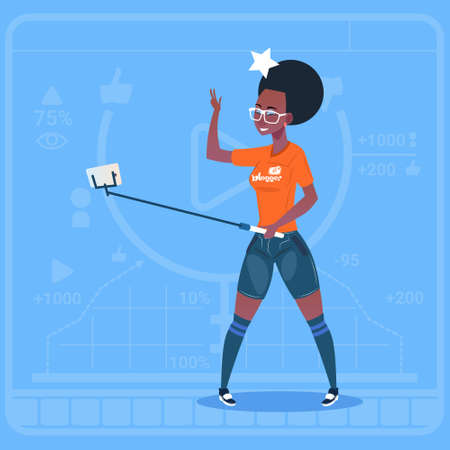 African American Girl Stream Modern Video Blog With Cell Smart Phone Vlog Creator Channel Flat Vector Illustration
