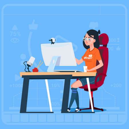 Girl Blogger Sit At Computer Streaming Video Blogs Creator Popular Vlog Channel Flat Vector Illustration Vettoriali