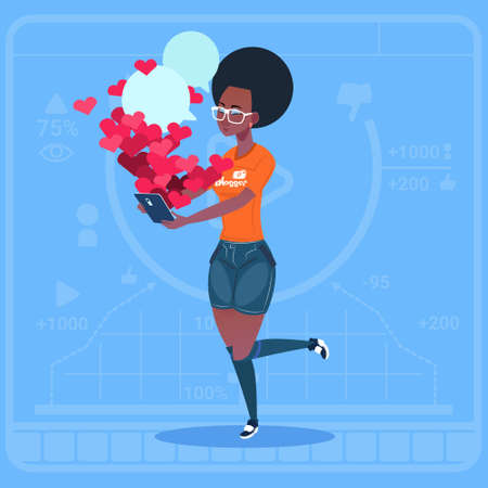 creator: African American Girl Blogger Hold Laptop With Many Likes Modern Video Blogs Creator Popular Vlog Channel Flat Vector Illustration