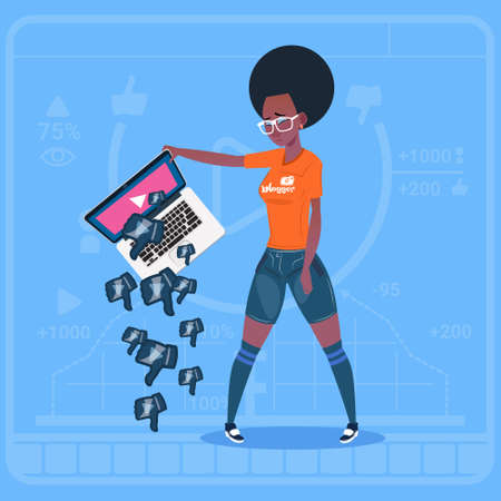 a creator: African American Girl Hold Laptop With Thumb Down Modern Video Blogger Vlog Creator Channel Dislike Flat Vector Illustration
