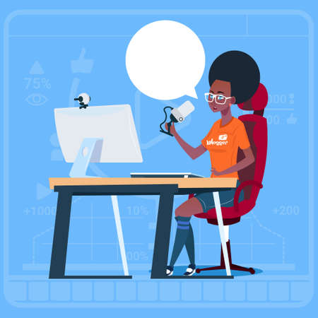 creator: African American Girl Blogger Sit At Computer Streaming Video Blogs Creator Popular Vlog Channel Flat Vector Illustration