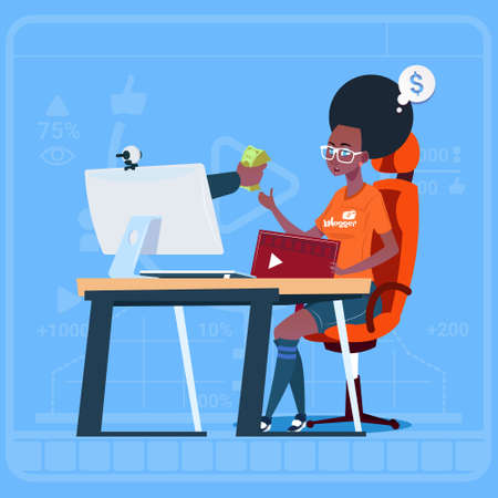 creator: African American Girl Blogger Sit At Computer Streaming Video Blogs Earn Money Creator Popular Vlog Channel Flat Vector Illustration