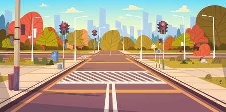 Road Empty City Street Met Crosswalk En Traffic Lights Flat Vector Illustratie