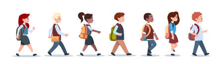 Group Of Pupils Mix Race Walking School Children Isolated Diverse Small Primary Students Flat Vector Illustration