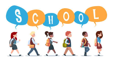 Grupo de alumnos mezclar raza caminando de regreso a la escuela Alumnos aislados diversos alumnos primaria pequeña ilustración vectorial plana Foto de archivo - 82154890
