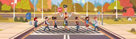 Policeman Guard Help Group Of School Children Crossing Road Flat Vector Illustration
