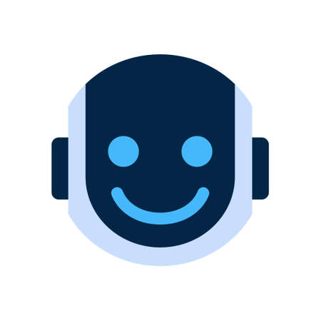 Robot Face Icon Smiling Face Emotion Robotic Emoji Vector Illustration