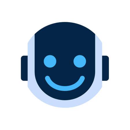 Robot Face Icon Smiling Face Emotion Robotic Emoji Vector Illustration