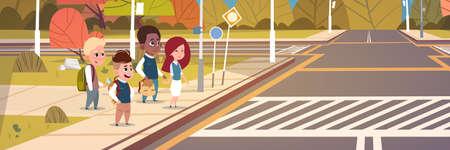 Group Of School Children Waiting For Green Traffic Light To Cross Road On Crosswalk Flat Vector Illustration Illustration