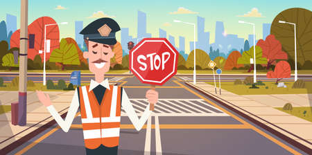 Guard With Stop Sign On Road With Crosswalk And Traffic Lights Flat Vector Illustration
