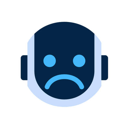 Robot Face Icon Sad Face Dissappointed Emotion Robotic Emoji Vector Illustration