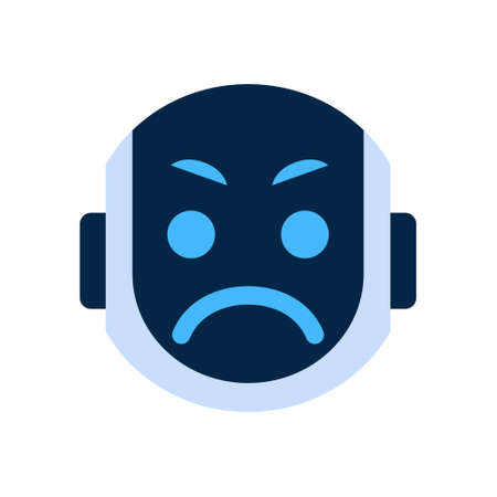 dissappointed: Robot Face Icon Angry Face Emotion Robotic Emoji Vector Illustration