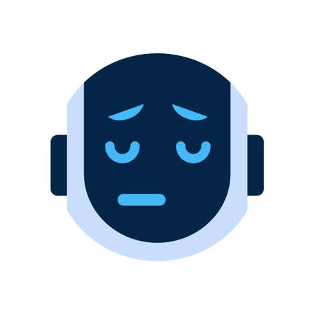 dissappointed: Robot Face Icon Sad Face Dissappointed Emotion Robotic Emoji Vector Illustration