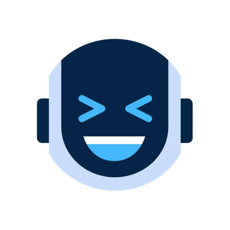funny robot: Robot Face Icon Smiling Face Laugh Emotion Robotic Emoji Vector Illustration