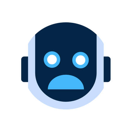 dissappointed: Robot Face Icon Shocked Face Emotion Robotic Emoji Vector Illustration
