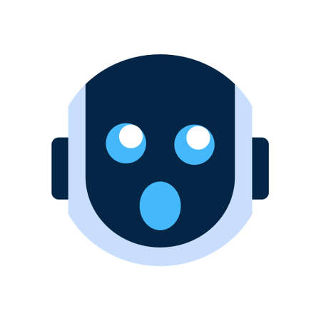 funny robot: Robot Face Icon Shocked Face Emotion Robotic Emoji Vector Illustration