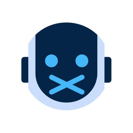 silent: Robot Face Icon Silent Shocked Face Emotion Robotic Emoji Vector Illustration Illustration