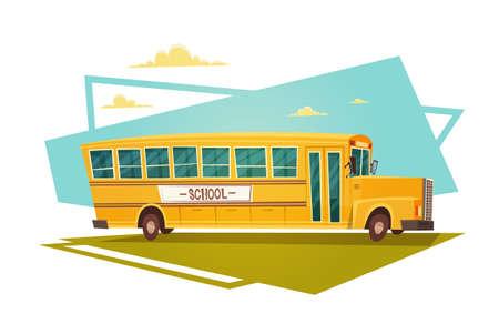 Yellow Bus Riding Retour à l'école 1 septembre Flat Vector Illustration