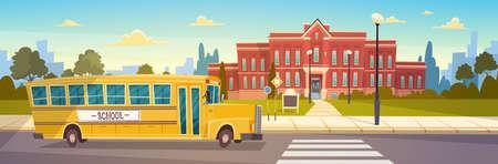 Autobús amarillo delante de los alumnos del edificio de la escuela transporte ilustración vectorial plana Ilustración de vector