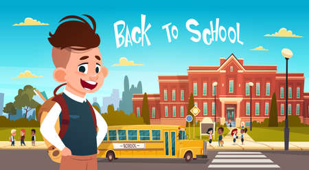 Boy Going Back To School Over Group Of Pupils Walking From Yellow Bus Primary Schoolchildren Students Flat Vector Illustration Ilustrace