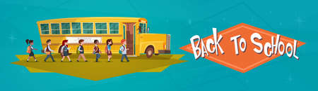 Yellow Bus Riding Back To School 1 September Flat Vector Illustration
