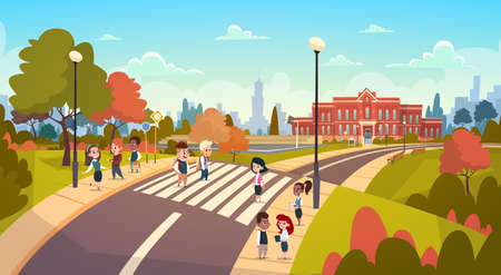 Group Of Pupils Walking On Crosswalk Mix Race Students Go To School Crossing Street Flat Vector Illustration
