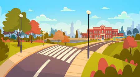거리 풍경 현대 학교 건물 외관 횡단 보도 교육 개념에 다시 오신 것을 환영합니다 플랫 벡터 일러스트 레이 션 일러스트