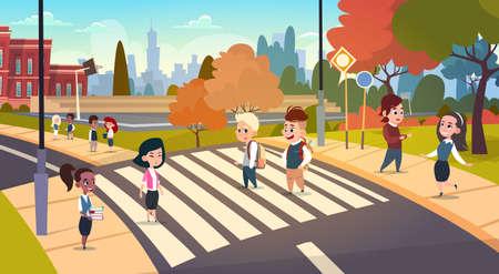 Group Of Pupils Walking On Crosswalk Mix Race Students Go To School Crossing Street Flat Vector Illustration