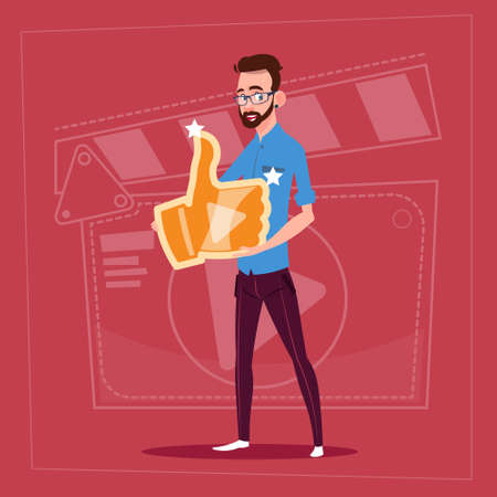 creator: Man Hold Thumb Up Modern Video Blogger Vlog Creator Channel Like Flat Vector Illustration