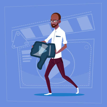 African American Man Hold Thumb Down Modern Video Blogger Vlog Creator Channel Dislike Flat Vector Illustration Illustration