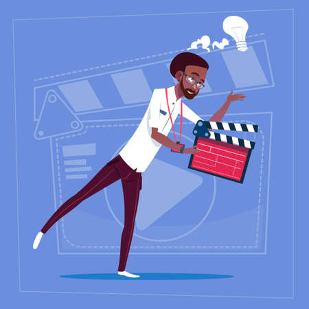 a creator: African American Man Holding Clapperboard Modern Video Blogger Vlog Creator Channel Flat Vector Illustration