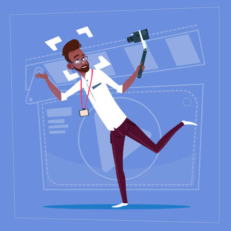 creator: African American Man Holding Action Camera Modern Video Blogger Vlog Creator Channel Flat Vector Illustration