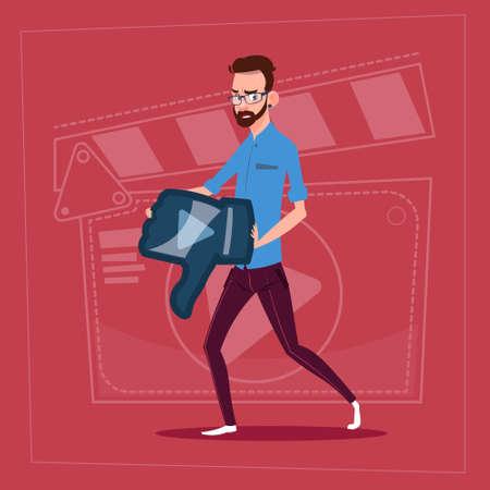 Man Hold Thumb Down Modern Video Blogger Vlog Creator Channel Dislike Flat Vector Illustration