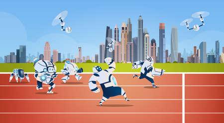 Modern Robots Team Running On Sport Group Artificial Intelligence Technology Flat Vector Illustration