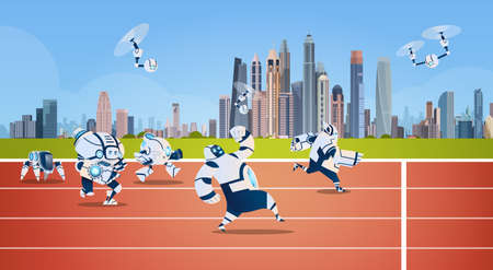 Modern Robots Team Running On Sport Group Artificial Intelligence Technology Flat Vector Illustration