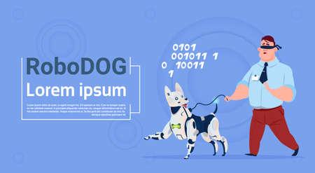 companion: Robotic Dog Guiding Blind Man Cute Domestic Animal Robot Helper Flat Vector Illustration