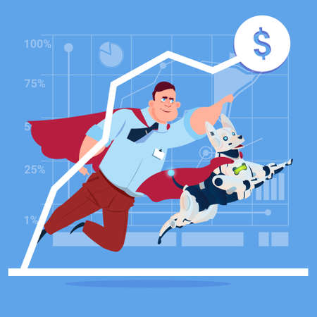 Successful Business Man In Red Cape With Robot Dog Over Finance Graph Up Flat Vector Illustration