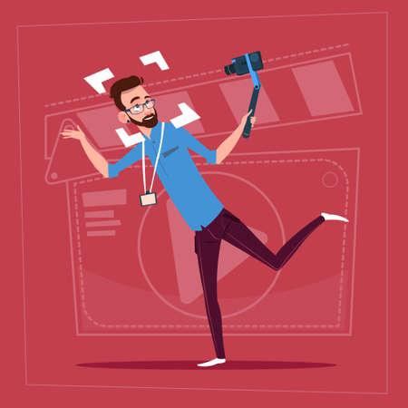 Man Holding Action Camera Modern Video Blogger Vlog Creator Channel Flat Vector Illustration Illustration