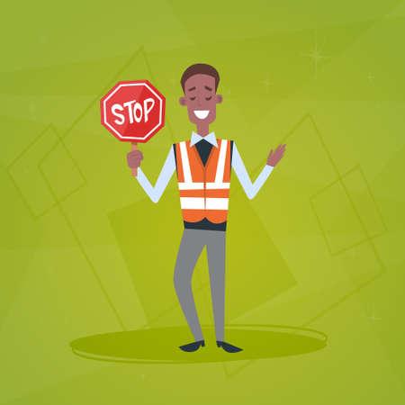 Verkeerspolitieagent Guard Holding Stop Road Sign Flat vectorillustratie