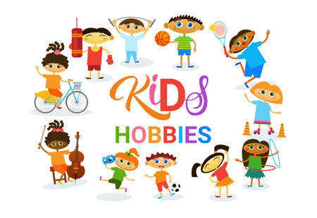 KIds Hobbies Art Classes Logo Workshop Creative Artistic School For Children Development Banner Flat Vector Illustration Stock Illustratie