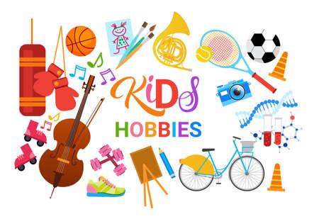KIds Hobbies Art Classes Logo Atelier École artistique créative pour le développement des enfants Bannière Illustration vectorielle plate