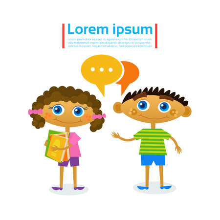 Little Girl And Boy Talking Hold Stack Of Books Reading Hobby Flat Vector Illustration